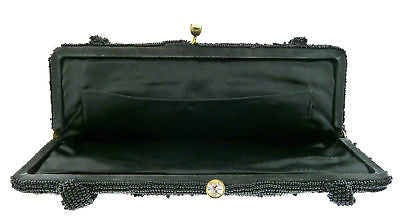 Vintage Handmade Beaded Black Evening Bag Silk Lined Purse with a Crystal Clasp