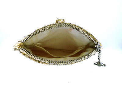 Vintage Handmade Beaded Gold and White Evening Bag Silk Lined Purse w Belt Loop