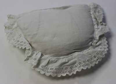 Antique Handmade Reticule White Cotton Evening Bag Early 19th Century Purse