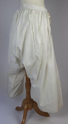 Antique White Cotton Pantalettes Split Bottom Bloomers Monogramed Drawers