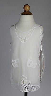 Antique White Cotton Child's Apron with White Embroidery  Wonderful Condition