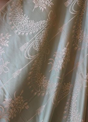 Beautiful Antique Parisian Silk with a Green and Ivory Floral Pattern