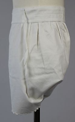 Antique White Cotton Baby's Bloomers with Buttons and Drawstring Waistband