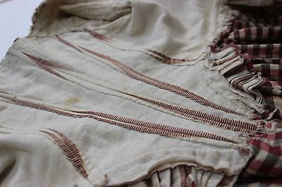 Rare Silk and Cotton 18th Century Stripe Robe with Self Fabric Ruching and Bows