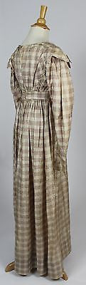 Cream and Dusty Pink Plaid Damask Silk Dress c. 1820