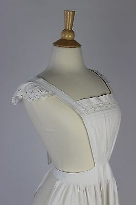 Antique White Cotton Apron with Tucks and Eyelet Monogramed AM in Red