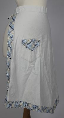 Vintage White & Blue Plaid Apron from the Mid 20th Century
