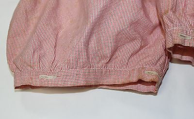 Antique White and Red Cotton Gingham Children's Sleeves with White Cuff Buttons