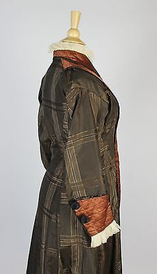 Wonderful Trained Plaid Silk Robe with Cotton Lining and Quilted Panels c. 1870