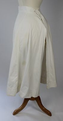Simple Antique White Cotton Apron with Buttonholes at the Waistline Troy NY