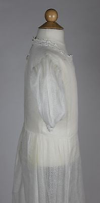 Lovely Antique White Cotton Girls Dress with White Cotton Embroidery c. 1910