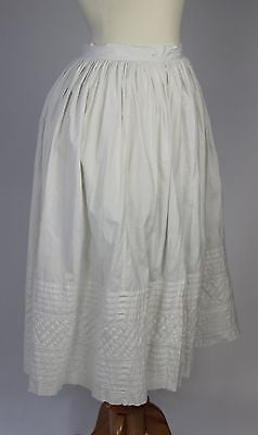 Antique Petticoat in White Cotton with Wonderful Tucks Lovely Underskirt