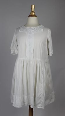 Antique Child's White Cotton Dress with White Embroidery