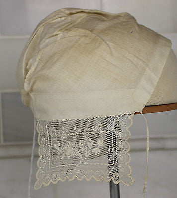 Museum Deaccession Lovely Early Antique White Cotton Baby's Cap with Lace Trim