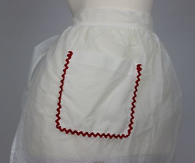 Vintage White & Red Shear Apron from the Mid 20th Century