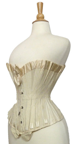 White Cotton and Silk corset c. 1900
