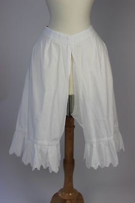 Antique Pantalettes White Cotton Split Bottom Bloomers Monogramed Drawers