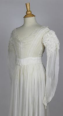 Beautiful Whitework Embroidered Floral Plant Pattern Long Sleeve Gown c. 1830