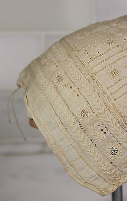 Museum Deaccession Lovely Early Antique White Cotton Embroidered Baby's Cap