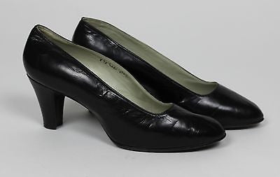 Museum Deaccession Antique Women's Black Leather High Heel Shoes