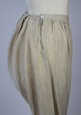 Antique Pantalettes Tan Linen Split Bottom Bloomers with Buttons and Drawstring