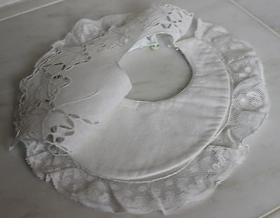 Lovely Antique Baby's Bib in White Cotton with Lace Trim
