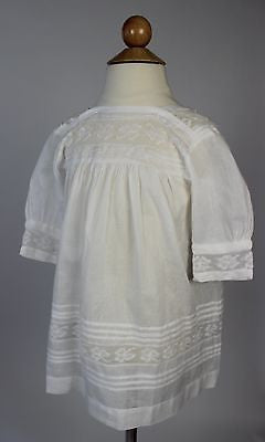 Antique White Cotton Child's Dress with Tucks and White Embroidery