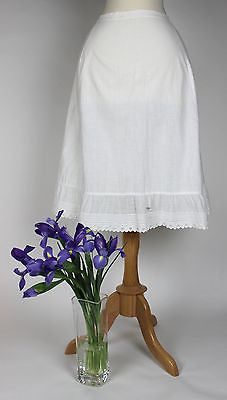 Antique Petticoat in White Cotton Underskirt with Drawstring Closure