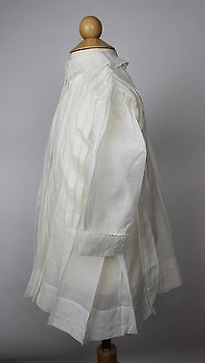 Antique White Cotton Child's Dress with White Embroidery and Pleats