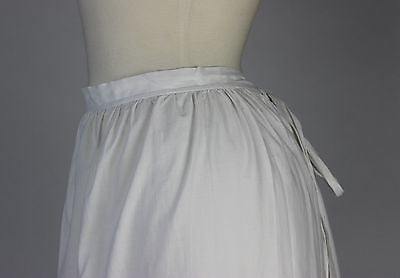 Antique White Cotton Apron with Tucks at the Hem