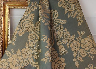 Lovely Parisian Antique Silk in a Blue and Ivory Floral Print