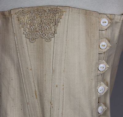 Lovely Early 20th Century Corset with Embroidered Trim and White Buttons