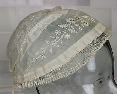 Museum Deaccession Early Antique White Cotton Embroidered Women's Cap