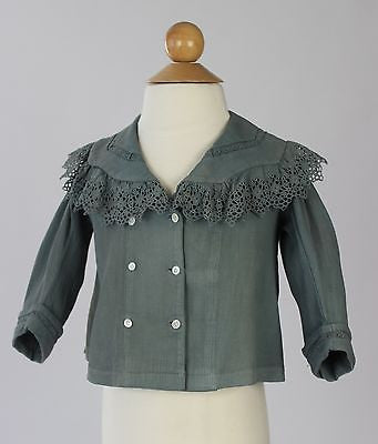Child's Antique Blue Corduroy Double Breasted Mother of Pearl Button Jacket