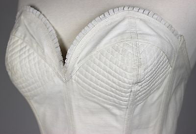 Vintage White Cotton Corset with Hook & Eye Back Closure & Elastic Waistband