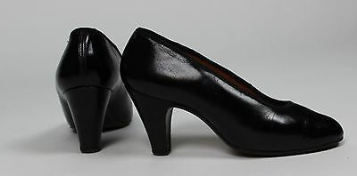 Antique Women's Black Leather High Heel Shoes