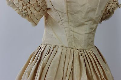 Ivory Silk Taffeta Ball Gown/Wedding Gown with Rosebud Trimmed Neckline 1857