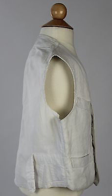 Antique White Cotton and Linen Child's Waistcoat with Mother of Pearl Buttons