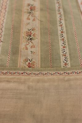 18th Century Silk & Cotton Antique Curtain Panel with a Striped Floral Pattern