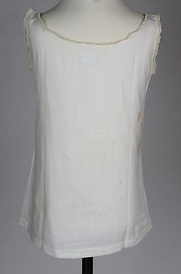 Antique White Cotton Babies Dress with Red Embroidery of a Chick and Egg
