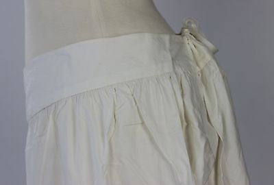 Antique Pantalettes in White Cotton with Split Bottom Buttons and Drawstring