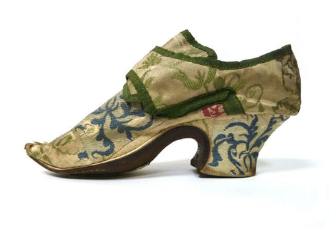 Lady's Silk Brocade Shoes with Pattens c. 1720-1740