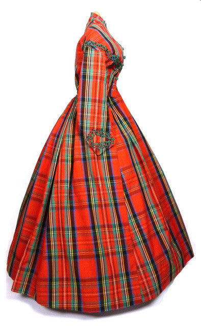 Museum Deaccessioned Beautiful Plaid Day Dress, 1860s