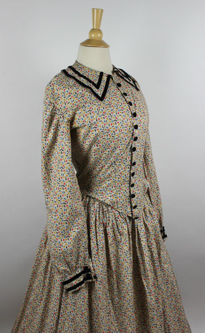 Antique Dress 19th Century Cotton Printed One Piece Dress with Velvet Trim