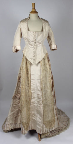 MET Museum Ivory Silk Faile Trained Antique Wedding Dress with Lace Trim c. 1880