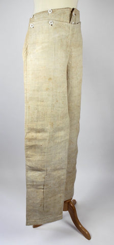 Antique Pants Man's Linen Trousers with Matching Drawers, American c. 1840