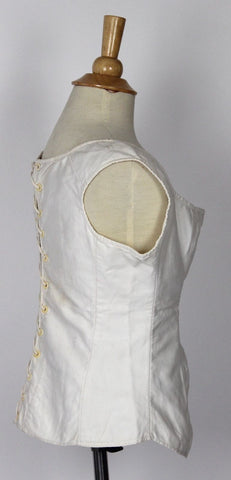 Antique Corset White Cotton Laced Back and Bone Eyelets Early 19th Century