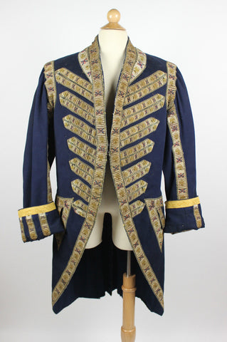 18th Century Coat Blue Wool Cloth with Eagles and Crossed Batons Trim