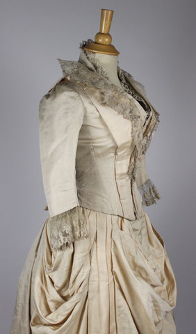 MET Museum Ivory Silk Faile Trained Antique Wedding Gown with Lace Trim c. 1880
