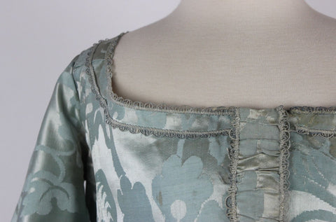 Antique Dress 18th Century Blue Silk Robe A L'Anglaise and Petticoat from China